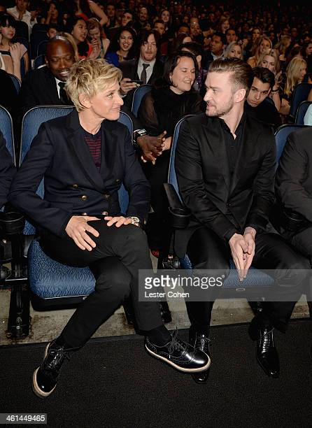 TV personality/comedian Ellen DeGeneres and musician/actor Justin Timberlake attend The 40th Annual People's Choice Awards at Nokia Theatre LA Live...