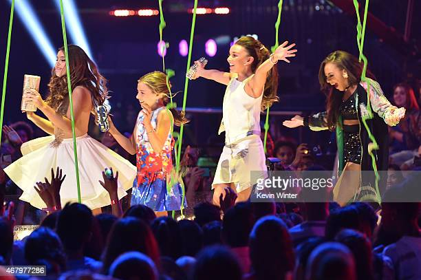 TV personality/dancers Kalani Hilliker Mackenzie Ziegler Kendall Vertes and Nia Sioux Frazier walk onstage to accept the Favorite Reality Award for...