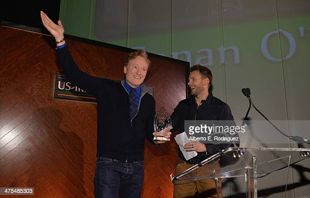 Personality/Honoree Conan O'Brien and actor Joel McHale speak at the 9th Annual 'Oscar Wilde Honoring The Irish In Film' PreAcademy Awards event at...