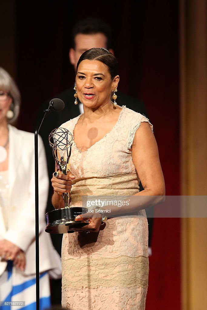 TV personality/host <a gi-track='captionPersonalityLinkClicked' href=/galleries/search?phrase=Sonia+Manzano&family=editorial&specificpeople=2662541 ng-click='$event.stopPropagation()'>Sonia Manzano</a> speaks onstage after being awarded a Daytime Emmy Lifetime Achievement Award at the 2016 Daytime Emmy Awards at Westin Bonaventure Hotel on May 1, 2016 in Los Angeles, California.