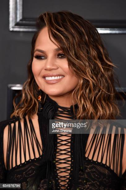 TV personalitymodel Chrissy Teigen attends The 59th GRAMMY Awards at STAPLES Center on February 12 2017 in Los Angeles California