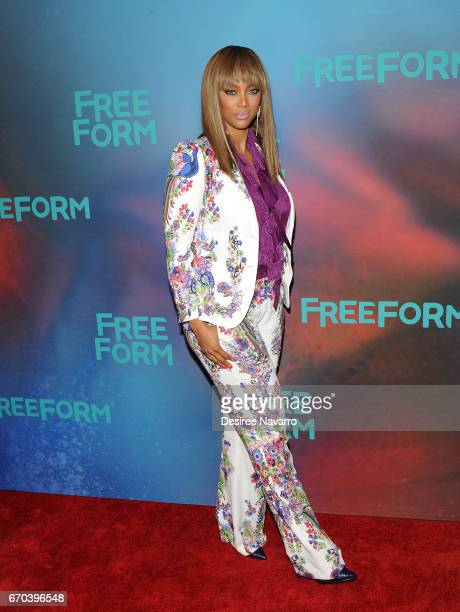 TV personality/model Tyra Banks attends Freeform 2017 Upfront at Hudson Mercantile on April 19 2017 in New York City