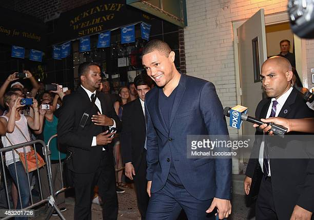TV personality/new host of 'The Daily Show' Trevor Noah exits following the final taping of 'The Daily Show With Jon Stewart' on August 6 2015 in New...