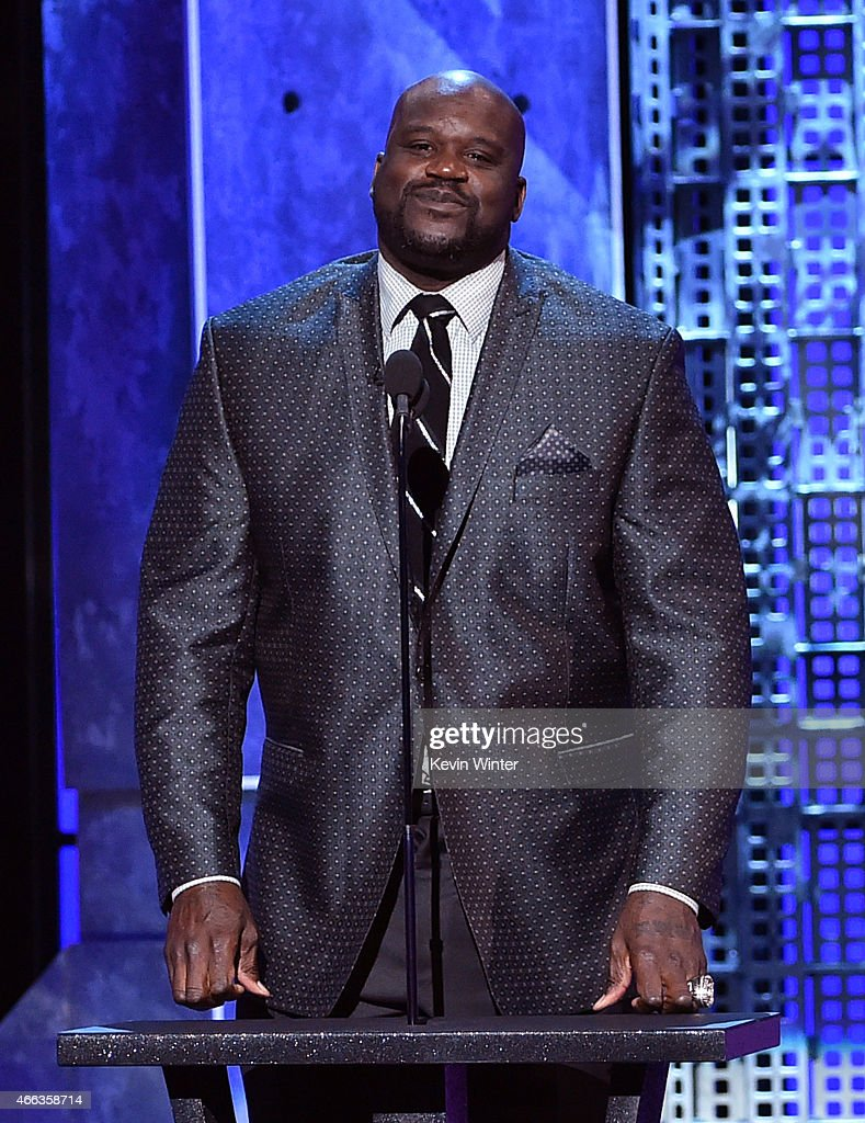 TV personality/retired basketball player Shaquille O'Neal speaks onstage at The Comedy Central Roast of Justin Bieber at Sony Pictures Studios on...