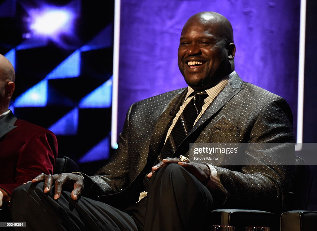 TV personality/retired NBA player Shaquille O'Neal speaks onstage at The Comedy Central Roast of Justin Bieber at Sony Pictures Studios on March 14...