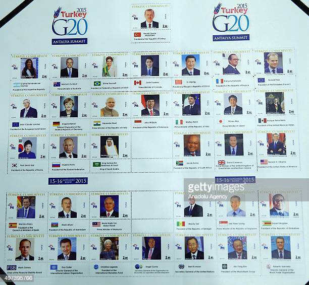 Personalized stamps of G20 Turkey Summit Leaders are seen after they were presented by Turkish President Recep Tayyip Erdogan in remembrance of G20...