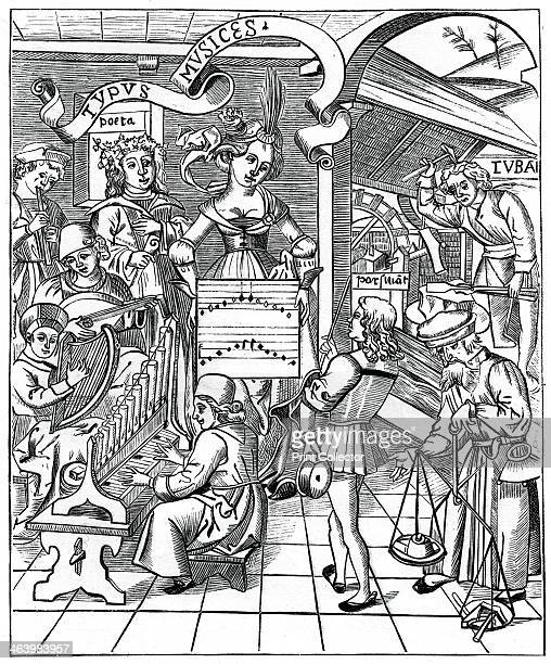 Personification of music with the auxiliaries the poet and musicians Facsimile of a wood engraving from the Margarita Philosophica Nova An engraving...
