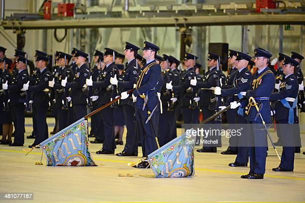 Personnel 617 squadron the Dambusters and their sister squadron 12 take part in a disbandment parade at RAF Lossiemouth on March 28 2014 in...