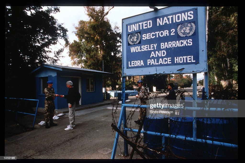 UN personnel conduct a tour of the 'Green Line' January 6 1998 in Nicosia Cyprus Early in 1998 Cyprus will engage in negotiations regarding its...