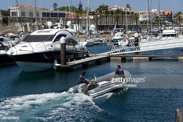 Personnel of Cascais Marina seen on August 16 2016 in Cascais Portugal With capacity for 650 vessels Cascais Marina has been constantly improving its...