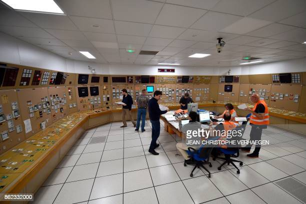 Personnel participate in a nuclear exercise in a simulator under the watch of controllers at the nuclear power plant of Cattenom in Cattenom eastern...