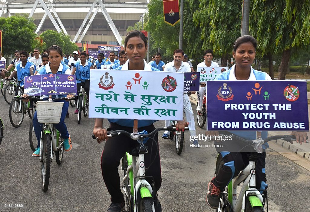 BSF personnel take part during the cycle rally to spread the awareness about Drug Abuse and illicit Trafficking on the occasion of International Day Against Drug Abuse and Illicit Trafficking at Jawahar Lal Nehru Stadium on June 26, 2016 in New Delhi, India.