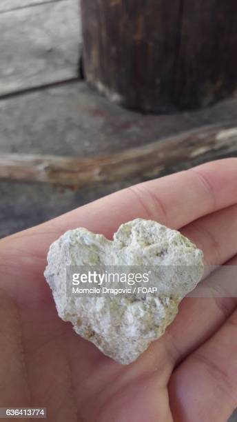Person's hand holding heart shape rock