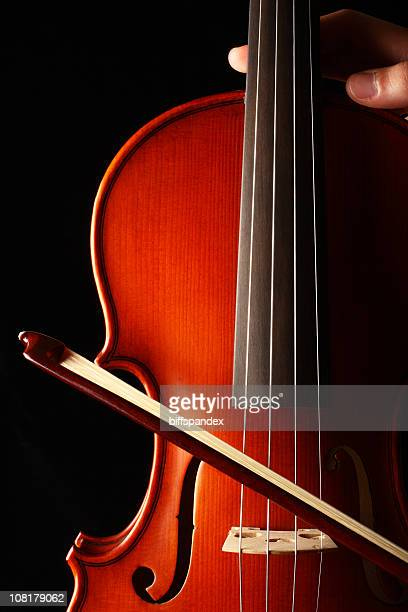 Person's Hand Holding Violin with Bow, Low Key