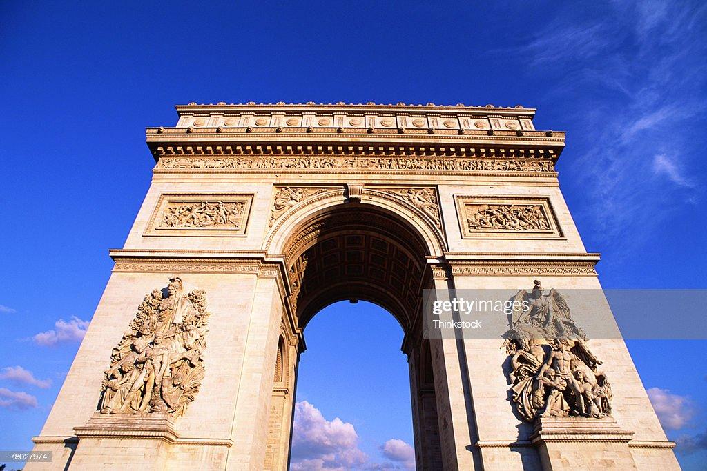 Perspective Closeup Of The Arc De Triomphe In Paris France ...