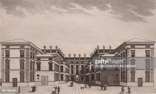 Perspective drawing of the Palazzo Scotti da Sarmato Piacenza EmiliaRomagna Italy aquatint 195x117 cm from Viaggio in Italia per Francesco Gandini...