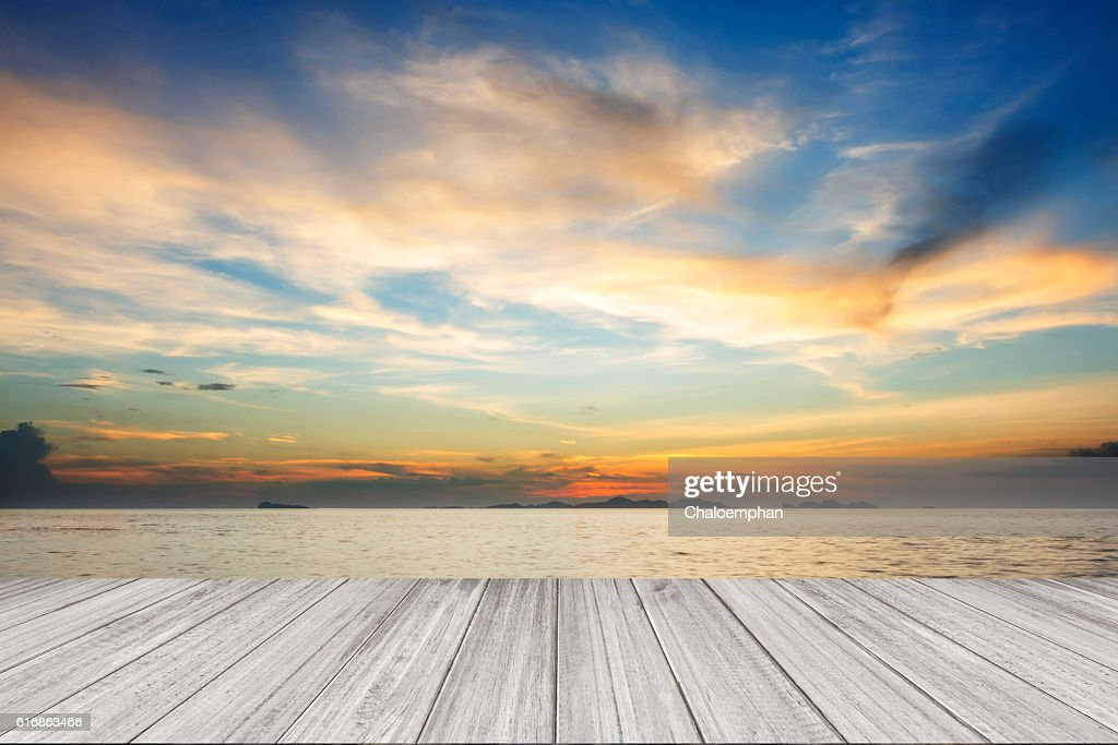 Perspective of wood terrace against beautiful seascape : Stock Photo
