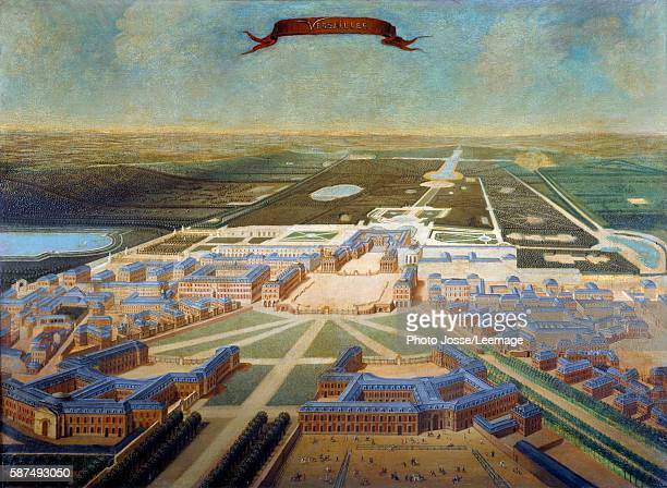 Perspective view of the castle stables and gardens of Versailles at the end of the reign of Louis XIV circa 17101715 Painting of the French School...