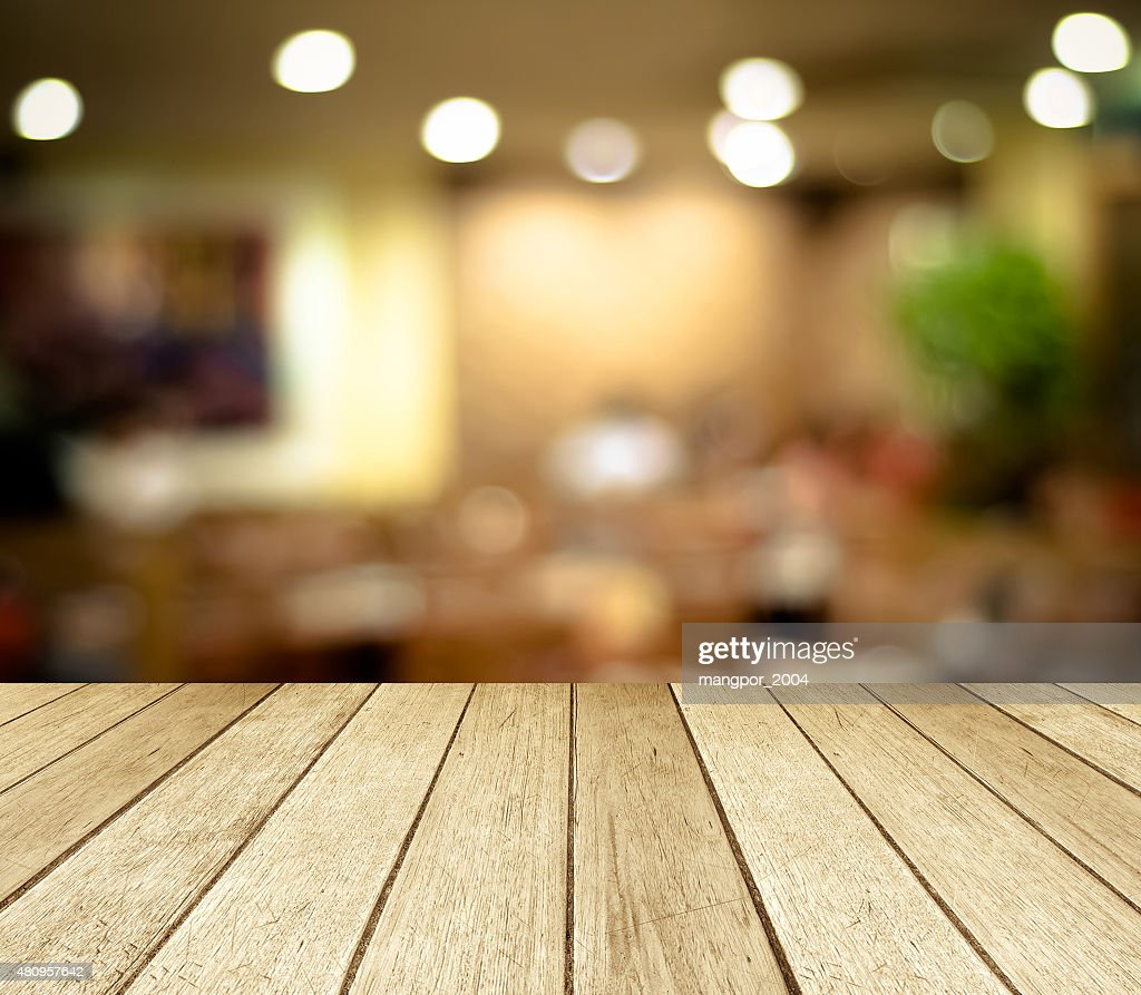 Perspective Wood And Blurred Cafe Background Product Display Stock