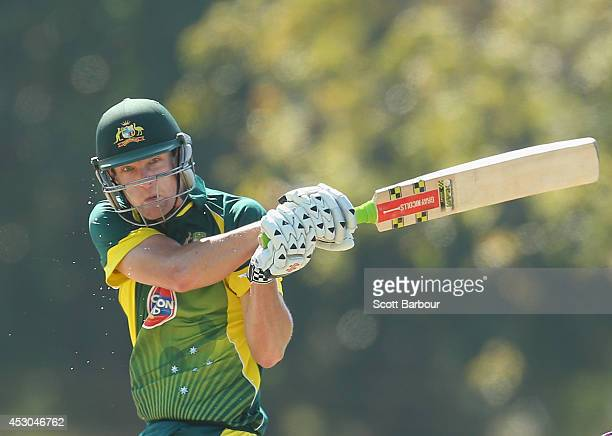 Perspiration falls from Cameron White of Australia 'A' as he bats during the Cricket Australia Quadrangular Series Final match between Australia 'A'...