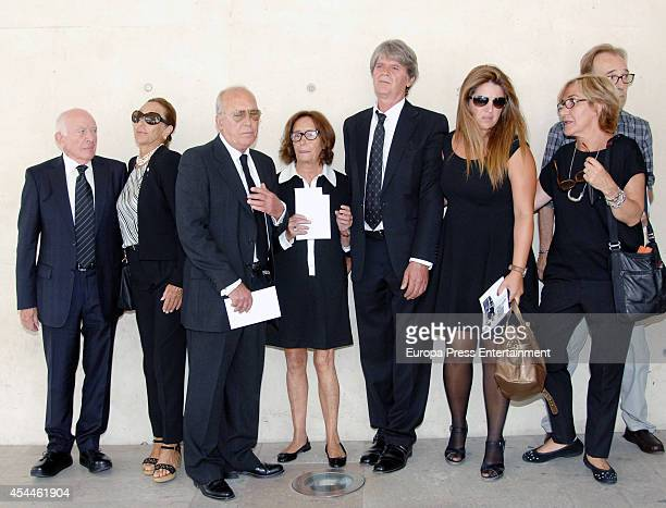 Pertegaz relatives attend the funeral for the Spanish designer Manuel Pertegaz on August 31 2014 in Barcelona Spain
