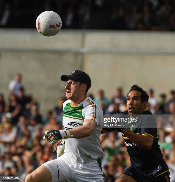 Perth Australia 18 November 2017 Niall Morgan of Ireland is tackled by Eddie Betts of Australia during the Virgin Australia International Rules...