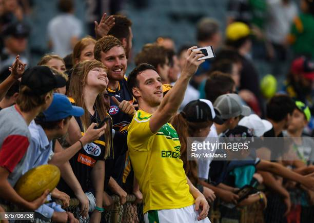 Perth Australia 18 November 2017 Niall Morgan of Ireland with supporters after the Virgin Australia International Rules Series 2nd test at the Domain...