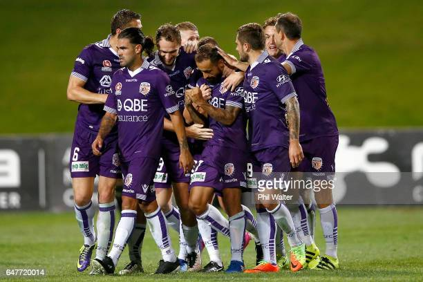 Perth celebrate a goal to Diego Castro during the round 22 ALeague match between the Wellington Phoenix and the Perth Glory at QBE Stadium on March 4...