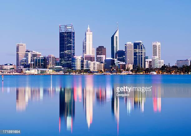 Perth Skyline della città di notte, Australia