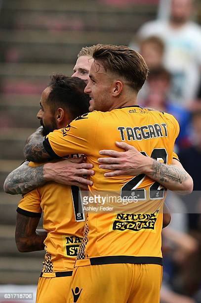 Perth Glory celebrate a goal from Andrew Keogh during the round 15 ALeague match between the Newcastle Jets and the Perth Glory at McDonald Jones...