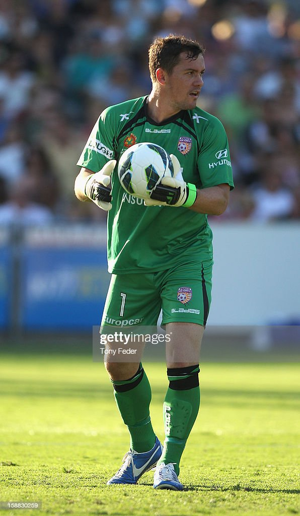 Perth Glory Goalkeeper Daniel Vukovic during the round 14 A-League match between the Central Coast Mariners and the Perth Glory at Bluetongue Stadium on December 31, 2012 in Gosford, Australia.
