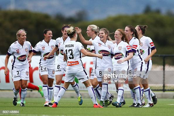 Perth Glory players celebrate a goal by Shawn Billam during the round eight WLeague match between Adelaide United and Perth Glory at Adelaide Shores...