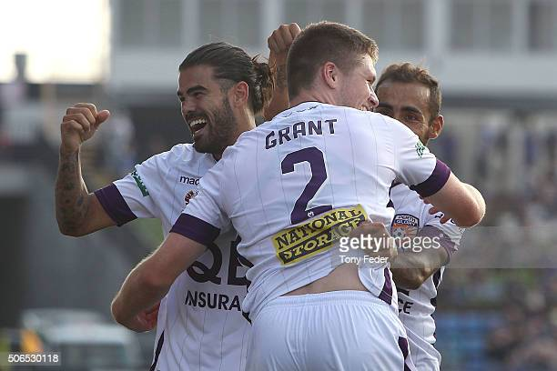 Perth Glory players celebrate a goal during the round 16 ALeague match between the Newcastle Jets and the Perth Glory at Hunter Stadium on January 24...