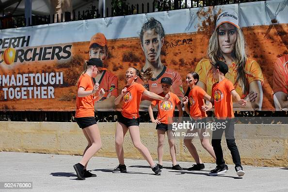 Perth Scorcher dancers perform during the Big Bash League match between the Perth Scorchers and the Brisbane Heat at WACA on December 26 2015 in...