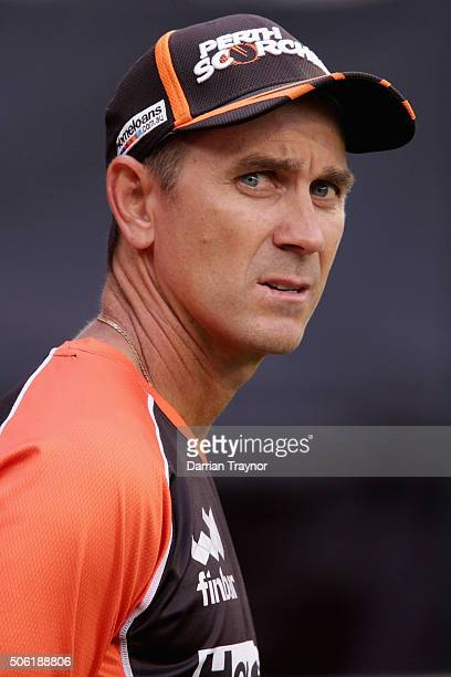 Perth Scorchers coach Justin Langer looks on during the warm up before the Big Bash League Semi Final match between the Melbourne Stars and the Perth...
