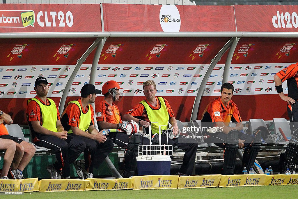 Perth Scorchers players sit on the bench during the Karbonn Smart CLT20 match between Kolkata Knight Riders and Perth Scorchers at Sahara Stadium Kingsmead on October 17, 2012 in Durban, South Africa.