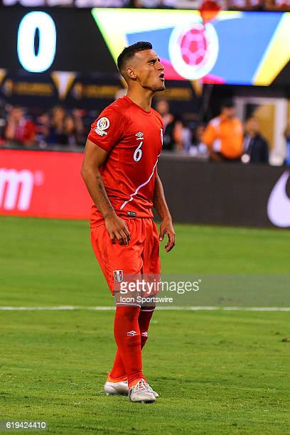 Peru defender Miguel Trauco reacts after missing a penalty kick during the 2016 Copa America Centinario Quarterfinal game between Columbia and Peru...