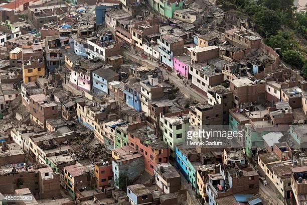 Peru, Lima, Aerial view to slums district
