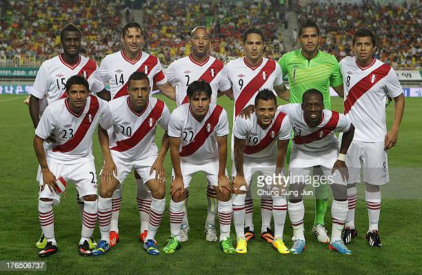 Peru national football team pose during the international friendly match between South Korea and Peru at Suwon World Cup Stadium on August 14 2013 in...