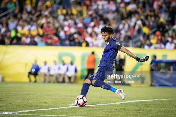 Peru national team goalkeeper Pedro Gallese clears the ball during the Soccer 2016 Copa America Centenario Group B Brazil vs Peru on June 12 2016 at...