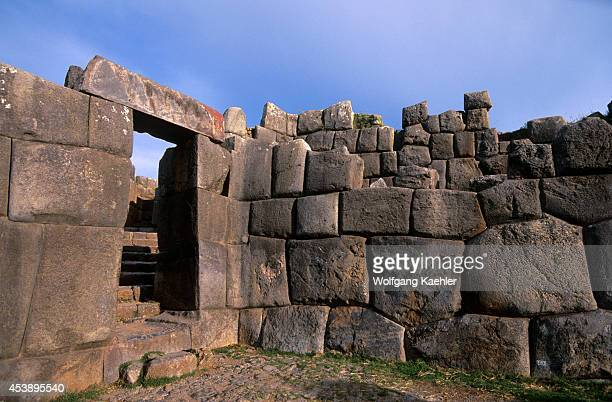 Peru Near Cuzco Inca Fortress Of Sacsayhuaman Door