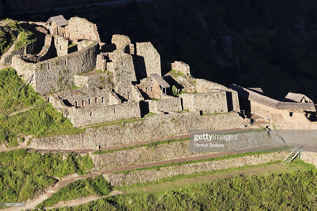 Peru, Pisac, Overlooking ruins at sunset
