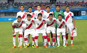 Peru poses prior to kick off during the 2014 FIFA Boys Summer Youth Olympic Football Tournament Semi Final match between Peru and Cape Verde at...