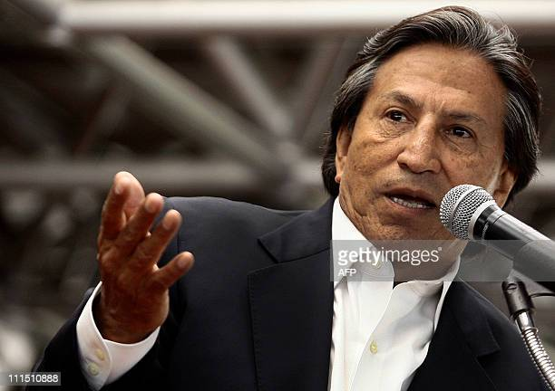 Peru Posible party's presidential candidate Alejandro Toledo speaks during a lecture on science and technology for students of the Ricardo Palma...