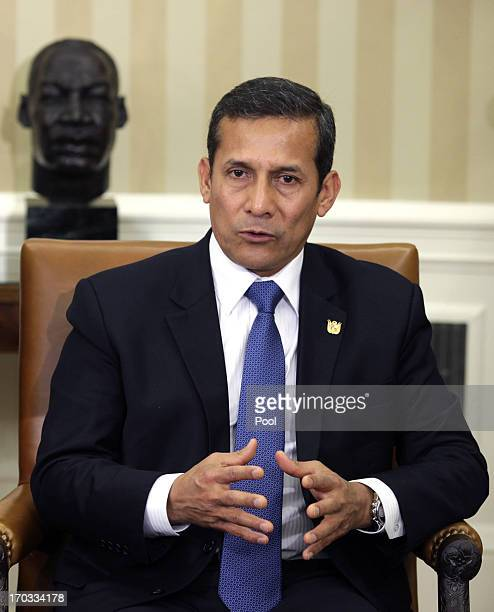 Peru President Ollanta Humala speaks during a meeting with US President Barack Obama in the Oval Office of the White House on June 11 2013 in...