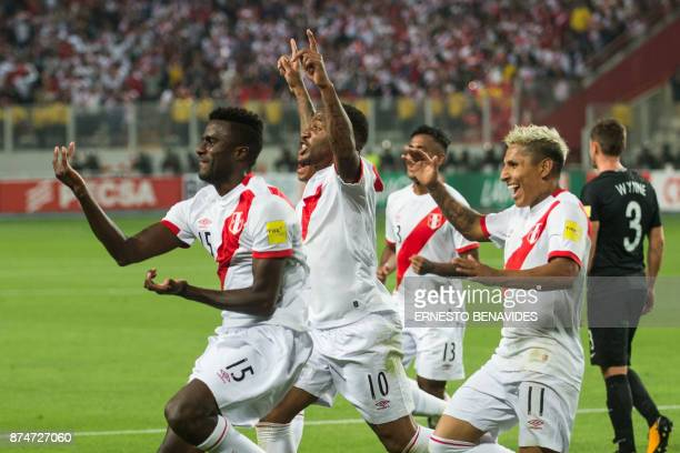 Peru's Christian Ramos celebrates with teammates after scoring against New Zealand during their 2018 World Cup qualifying playoff second leg football...