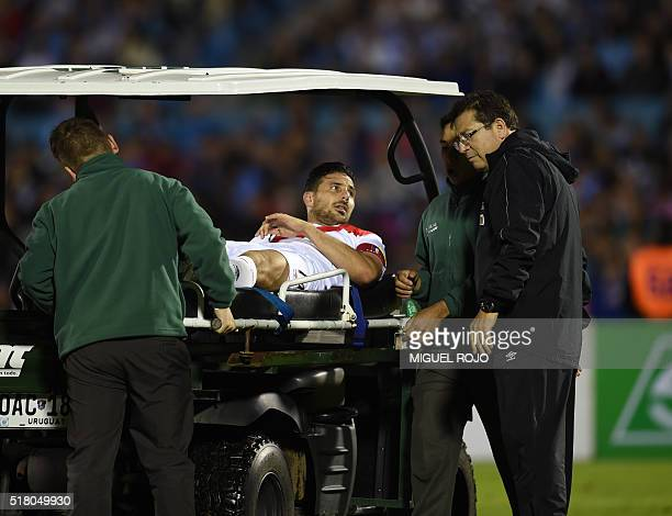 Peru's Claudio Pizarro leaves the field during their Russia 2018 FIFA World Cup South American Qualifiers' football match against Uruguay at the...