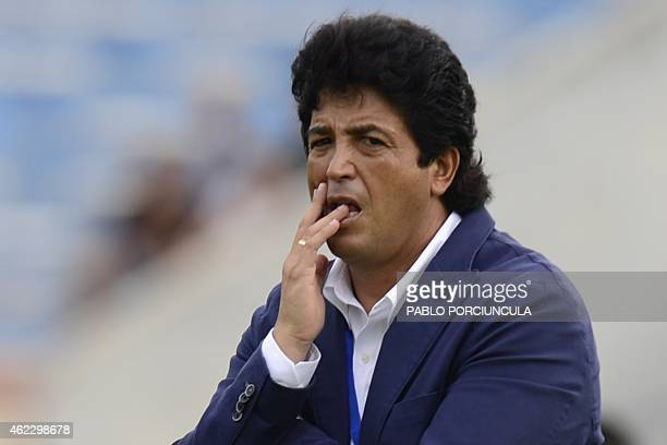 Peru's coach Victor Rivera gestures during the South American U20 football match against Argentina at the Centenario stadium in Montevideo on January...