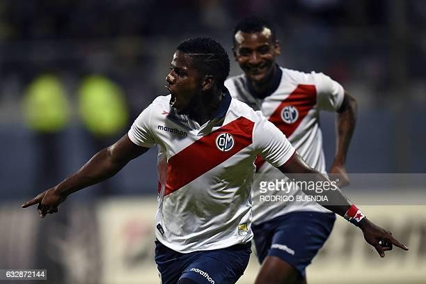 Peru's Deportivo Municipal player Sergio Moreno celebrates his goal against Independiente del Valle from Ecuador during their 2017 Copa Libertadores...