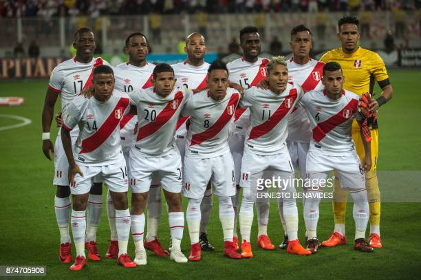 Peru's football team players Luis Advincula Jefferson Farfan Alberto Rodriguez Christian Ramos Renato Tapia goalkeeper Pedro Gallese Andy Polo Edison...